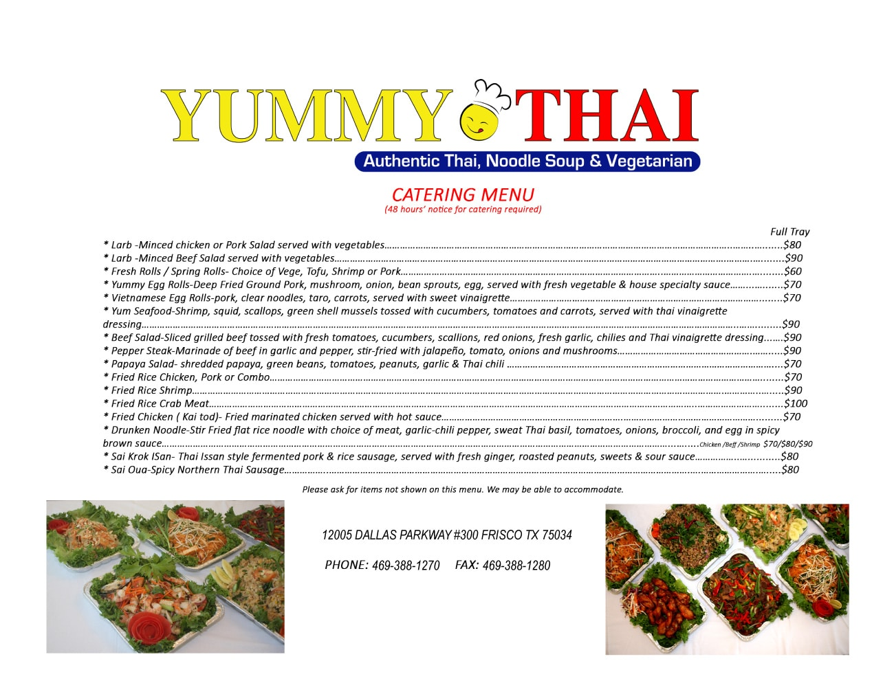Yummy Thai Coppell Catering Menu List2